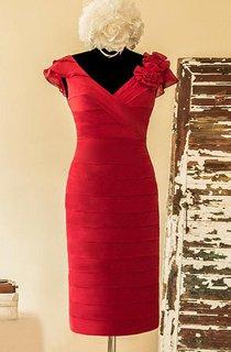 Sheath Mini V-neck Cap Sleeve Chiffon&Satin Dress With Tiers&Low-V Back