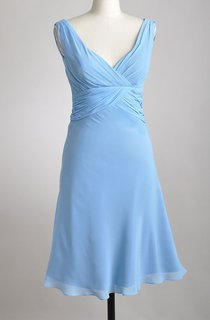 Deep-V Neckline A-line Chiffon Knee-length Dress With Pleats