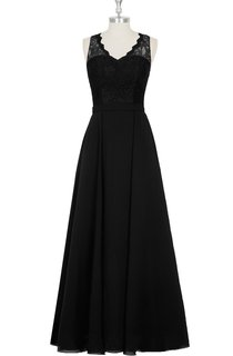 Chiffon A-Line Sleeveless Dress With V-Neck and Lace Bodice
