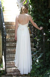 Spaghetti-Strap Chiffon Floor-Length Lace Pleated Wedding Dress