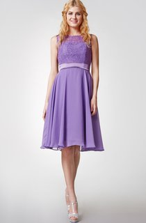 High Neck Lace and Chiffon Short Bridesmaid Dress