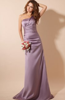 Asymmetrical One-Shoulder Maxi Satin Dress With Brush Train