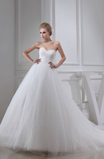 Sweetheart Beaded A-Line Ball Gown With Tulle Overlay