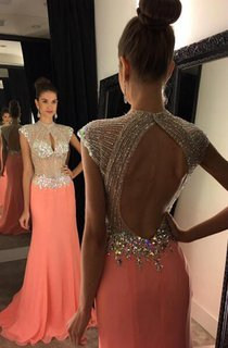 Modern Cap Sleeve 2016 Evening Dress Long Crystal Sequins Party Gown