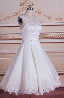 A-Line Mini Tea-Length Tulle Lace Satin Weddig Dress