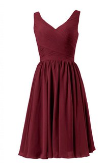 Sleeveless A-line Chiffon Dress With Pleats