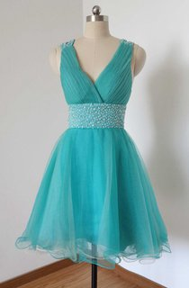 Mini V-neck Tulle Dress With Beading And Strap Back