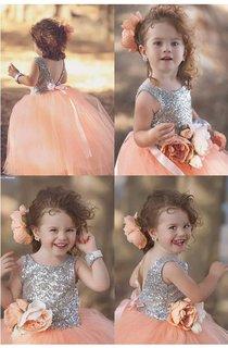 Lovely Tulle Sequined Flower Girl Pageant Dress 2016 Jewel Sleeveless