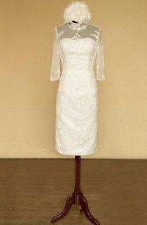 High-Neck Half Sleeve Sheath Satin Wedding Dress With Flower