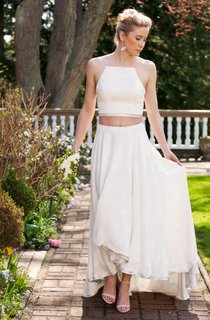 Two Piece High-Low Chiffon Wedding Dress With Crop Top