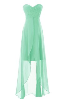 Asymmetrical Sweetheart Ruched Chiffon A-line Dress