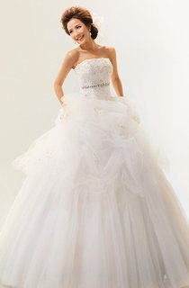 Intricate Strapless Ruffled Ball Gown With Crystal Detailing