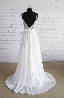 Spaghetti Strap A-Line Chiffon Wedding Dress With Lace Bodice