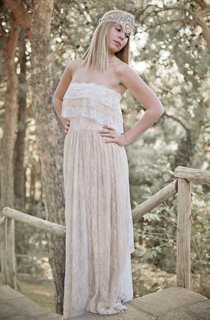 Boho Style Lace Pleated Floor-Length Tired Dress With Zipper