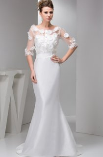 Floral Half-Sleeve Satin Mermaid Dress with Illusion Top