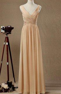Floor-length V-neck Chiffon&Satin Dress With Low-V Back