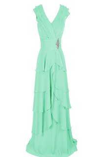 V-neck Tiered Chiffon A-line Gown With Crystal Detail