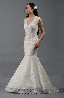 Alencon Lace Mermaid Wedding Dress With Keyhole Back and Flowers