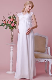 Cap-sleeved A-line Chiffon Gown With Lace Bodice and Waist