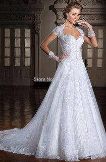 Glamorous Cap Sleeve A-line Wedding Dress Lace Sweep Train