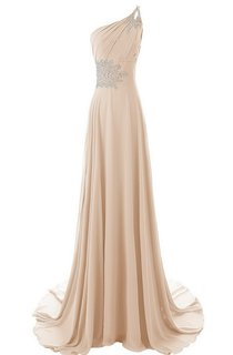 One-shoulder Ruffled Gown With Beadings and Sweep Train