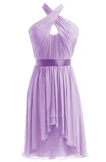 Asymmetrical Halter Chiffon A-line Dress With Satin Band