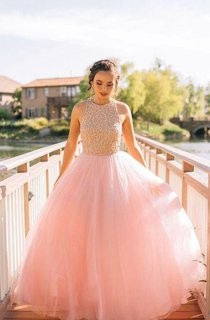 Sleeveless A-line Long Ballgown with Lace and Pleats
