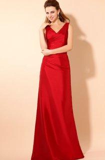 Strapless V-Neck Maxi Taffeta Dress With Ruching And Ruffle
