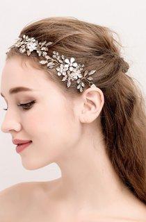 European Handmade White Flowers Vintage Gold Leaf Vines Crystal Hair Band Hoop