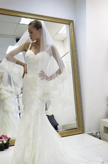Trumpet Strapped Tulle Lace Weddig Dress