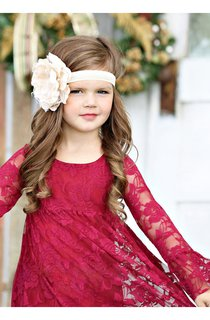 Long Sleeve Scoop Neck Pleated Lace Toddler Dress