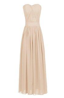 Strapless Chiffon Dress With Crisscross Pleats