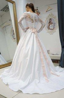 Bateau Illusion Long Sleeve Satin A-Line Wedding Dress With Bow And Sweep Train
