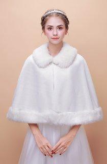 Bridal Wedding Shawl Winter Warm Korean Fur Collar Cloak Thickened Cape