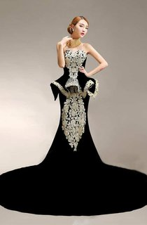 Pearl High Neck Sleeveless Mermaid Satin Gown With Peplum