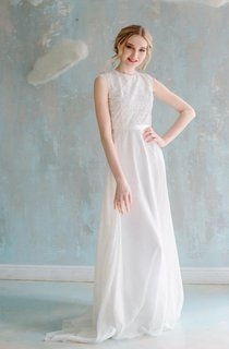 A-Line Floor-Length Chiffon Lace Satin Dress With Sash Ribbon Button