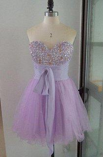 Short Sweetheart Chiffon&Tulle Dress With Beading