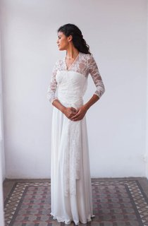 Bohemian Long Sleeve Lace Floor-Length Sleeve With Draping