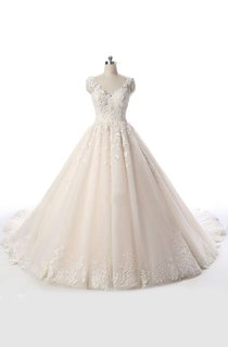 Court Train Tulle Lace Dress With Beading Lace-Up Back