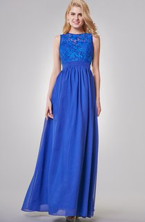 Jewel Neckline A-line Long Chiffon Dress With Key-hole