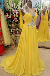 A-line Princess Straps Sleeveless Beading Sweep Brush Train Chiffon Dresses