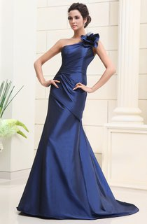 Asymmetrical One-Shoulder Dress With Flower And Side Gathering