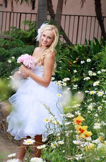Sweetheart Short Chiffon Wedding Dress With Criss Cross And Ruffles