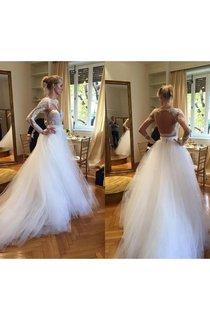 Elegant Long Sleeve Designer Lace 2016 Wedding Dresses Tulle Lace Bridal Gowns