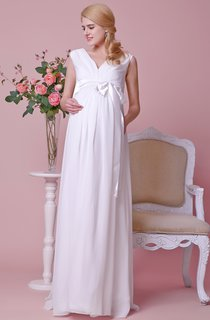 Gorgeous A-line Pleated Chiffon Maternity Wedding Dress With V-neck and Satin Bow