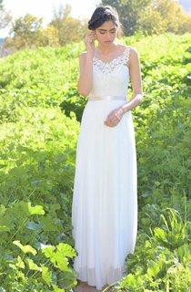 V-Neck Sleeveless Chiffon Backless Wedding Dress With Lace Top