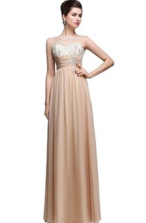 Cap-sleeved A-line Chiffon Gown With Sequins