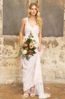 V-Neck Satin Bowed Sash Ribbon Lace Backless Wedding Dress