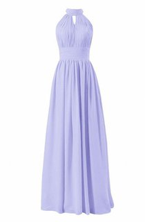 High Neck Notched A-line Gown With Keyhole Back