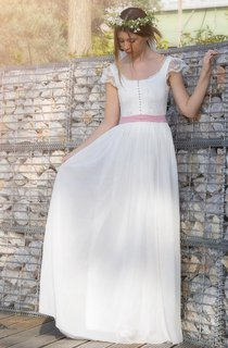 Sleeveless Sleeve Chiffon Lace Weddig Dress